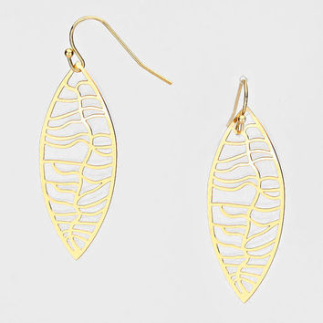 Leaf Cut out Metal Earrings Gold  | Leaf Petal Earrings