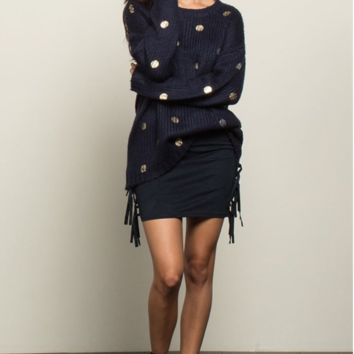 Navy Sweater w/ Gold Polka Dots