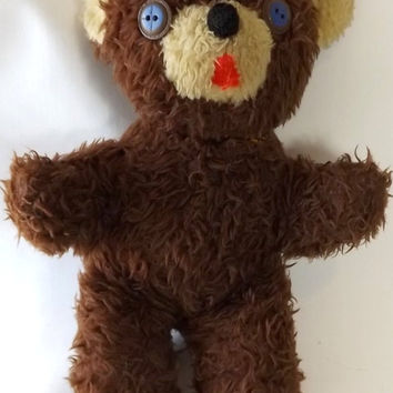 Shaggy Brown Teddy Bear with Button Eyes, Vintage Plush Animal Collectible Toy