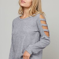Light Grey Textured Cut-Out Detail Top
