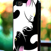 Silicone - Plastic - Cute Couple Cat Sailor Moon Luna Artemis - iPhone 4/4s, 5, 5s, 5c, Samsung S3, S4