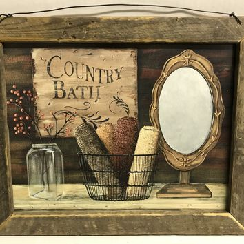 Country Bath Towels in Basket Mirror Lathe Picture