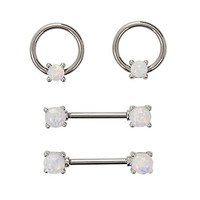 14G Steel White Opal Nipple Barbell & Captive Hoop 4 Pack