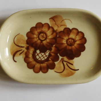 Vintage Butter Dish / Serving dish / Hand Painted / Floral / Hand-Crafted / Brown Beige Tableware / Polish pottery / Polish ceramics 80's