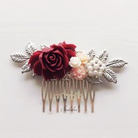 Delilah - Blush Pink Burgundy Red Silver Wedding Hair Comb