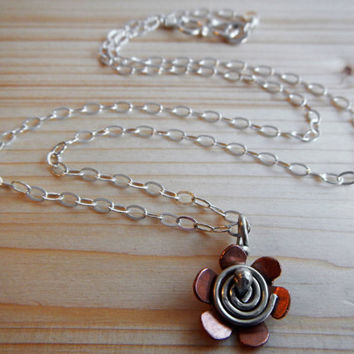 Copper and Sterling Silver Flower Pendant, Hand Made Spiral Flower Jewelry Gift for Her Made to Order Girlfriend Bridesmaid Teenager Gift