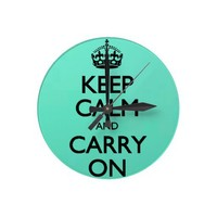 Acid Keep Calm And Carry On Mint Green Round Clocks