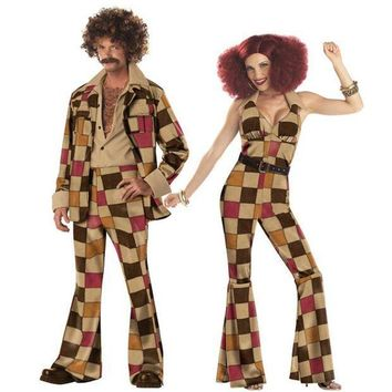 CREY6F Woodstock Mens & Woman Hippie Fancy Dress Costume 60s 70s Hippy Outfit