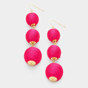 Pink Bon Bon Style Earrings, Thread Ball Earrings, Triple Ball Drop Earrings, Drop Earrings, Thread Wrapped Earrings, Silk Thread Earrings