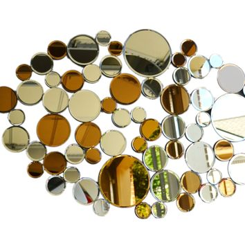 Modern mirrored wall decor round mirror multi-facet galss mirror wall art