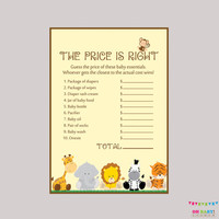 Safari Baby Shower Price is Right Game - Printable Instant Download - Safari Baby Shower Game Boy Gender Neutral - BS0001-N