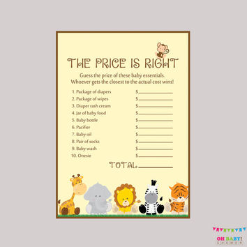 safari baby shower price is right game printable instant download