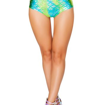 J-Valentine Blue Green High-Waist Mermaid shorts