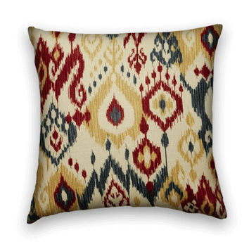 Ikat Decorative Pillow Cover--20 x 20--Duralee Contemporary Accent Pillow-- Blue, Red, Honey and Cream.