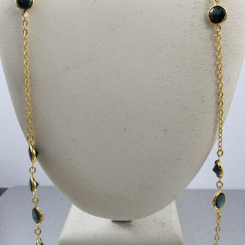 J CREW Green Crystal Necklace Open Back Bezel Set Dark Forest Green Gold Plated 34""