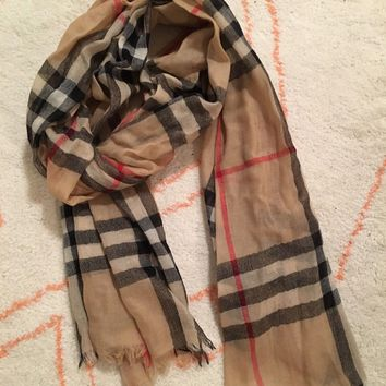 BURBERRY Lightweight COLOR CHECK WOOL Scarf