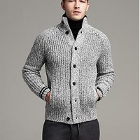 Tipped Marled Cardigan