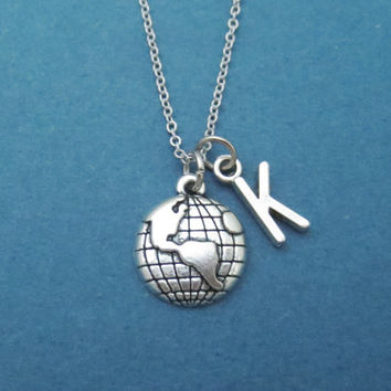 Personalized, Letter, Initial, Globe, Earth, Silver, Necklace, World, Necklace, World, Tour, Traveller, Birthday, Best friend, Gift, Jewelry