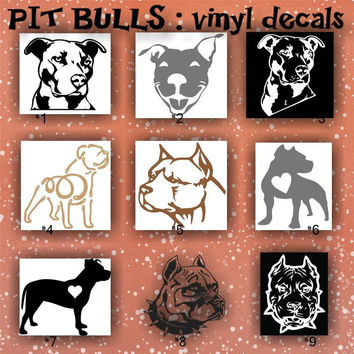 PIT BULLS vinyl decals - 1-9 - personalized car stickers - custom vinyl stickers - car window decals - car sticker