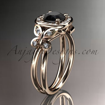 14kt rose gold diamond unique butterfly engagement ring, wedding ring with a Black Diamond center stone ADLR330