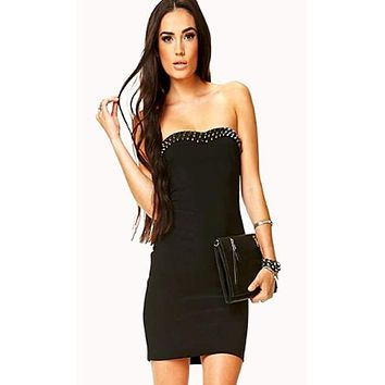 Stud Spiked Bodycon Dress