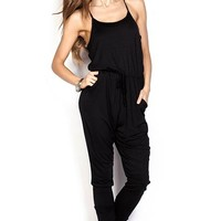 Chelsea Black Strappy Casual Slouchy Jumpsuit with Pockets