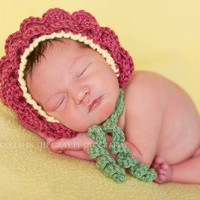 Crochet Pattern for Flower Baby Bonnet Hat - 4 sizes, baby to toddler/child - Welcome to sell finished items