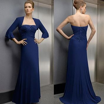 Royal Blue Long Chiffon Beaded Strapless Three Quarter Sleeves Meimaid Mother of the Bride Dresses With Jacket Custom Made
