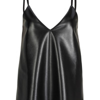 Black V-neck Semi-sheer Chiffon Back PU Cami