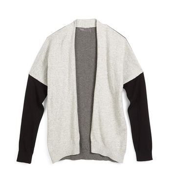 Open-Front Colorblock Cardigan, Steel, Size S-XL, Size: