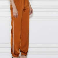 Side Split High Waist Dual Pockets Jogger Pants