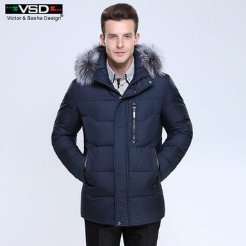Design Thick Warm Winter Leisure Cotton-Padded Down Jacket Men Long Hat Detachable Coat Parkas Genuine Fur