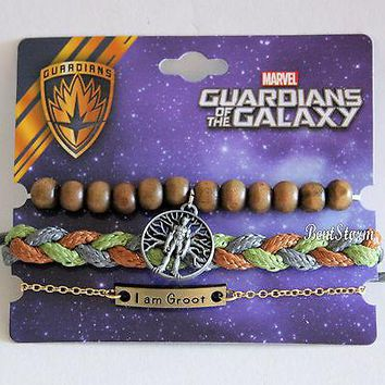 Licensed cool Marvel Guardians Of The Galaxy Vol. 2 Groot Cord Wood Charm Arm Party Bracelet