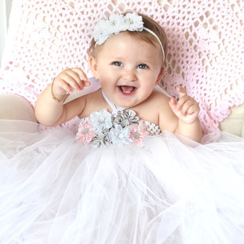 Beautiful Pink Gray White Satin Flower Girl Tutu Dress for 6-18 Months Baby Girl First Birthday