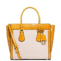 Colette Large Embossed-Leather and Canvas Satchel | Michael Kors