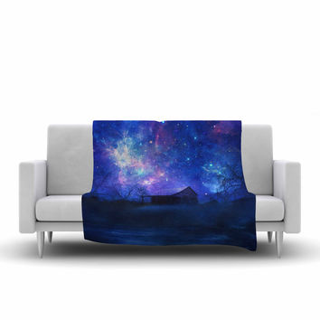 "Viviana Gonzalez ""Beginning"" Blue Galaxy Fleece Throw Blanket"