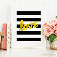 Love gold foil black and white stripes, printable wall art decor, love art, faux gold foil (instant digital download JPG)