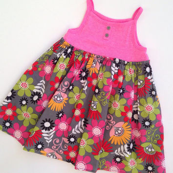 Baby Resort Wear, Tank Top Onesuit Dress, Pink Summer Dress for Baby, Floral Sundress Onesuit