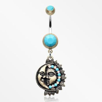 Vintage Boho Sun & Moon Belly Button Ring