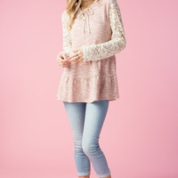 Hooded Lace Sleeve Top - Blush