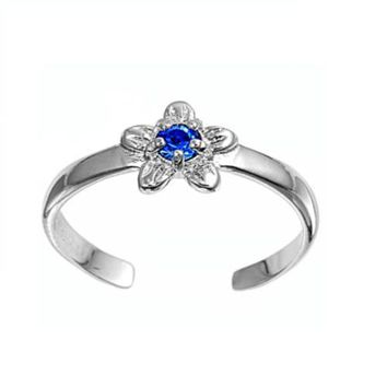 Sterling Silver Star 7MM  Toe Ring/ Knuckle/ Mid-Finger CZ Sapphire CZ