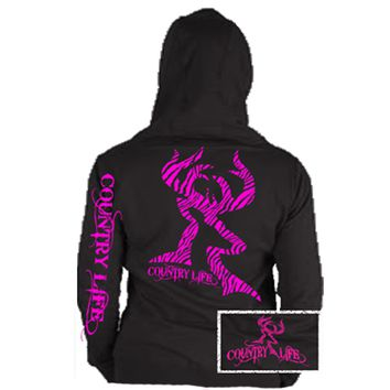 Country Life Outfitters Black & Pink Zebra Deer Head Hunt Vintage Bright Hoodie