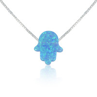 Blue opal hamsa necklaces 11x13mm, hand necklace, opal hand silver necklace, hand of god necklace
