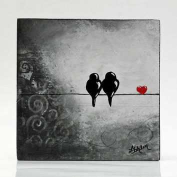 Original Painting Birds on a Wire Painting Wedding Card Anniversary Lovebirds Painting Love Bird Art Block Bird Decor Wedding Gift Love Art