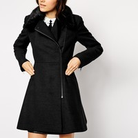 ASOS Skater Biker Coat With Detachable Faux Fur Collar