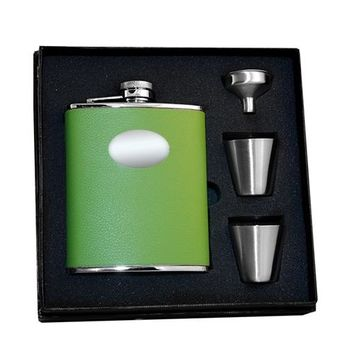 Visol Lily Pad Light Green Deluxe Hip Flask Gift Set - 6 oz