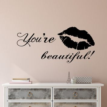 Vinyl Wall Decal Stickers Motivation Quote Words You're Beautiful Inspiring Letters 2609ig (22.5 in x 10.5 in)