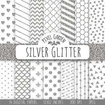 Silver Glitter Digital Paper. Silver Sparkle Scrapbooking Paper Pack. Grey and White Digital Patterns. Silver Glitter Heart, Arrow, Chevron.