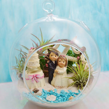 "Wedding  Terrarium ~ Bride and Groom  ~  Beach Wedding Decor ~ Air plants ~ 7"" Glass Globe ~ Remember Your Special Day"
