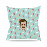 "Juan Paolo ""Give Me All Of The Bacon And Eggs"" Parks & Recreation Outdoor Throw Pillow"